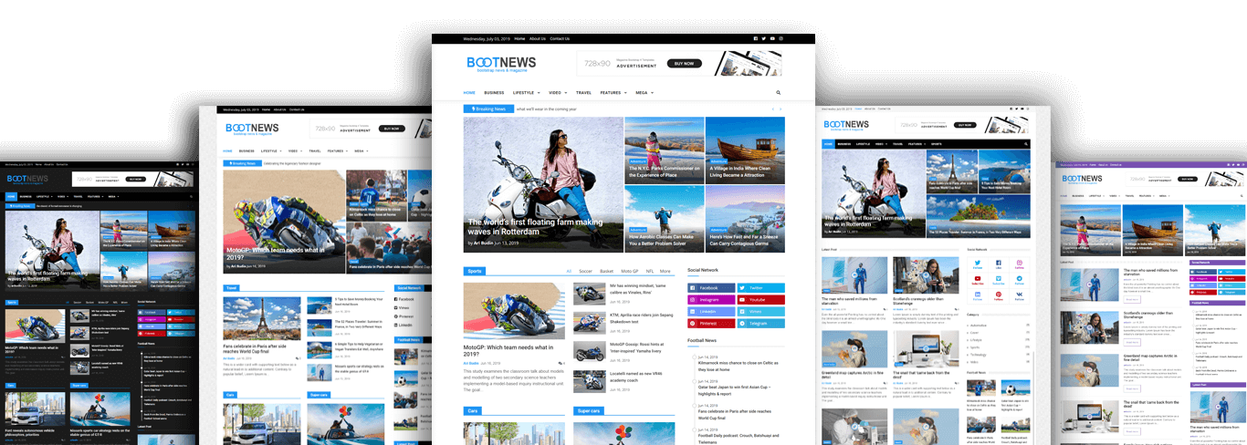 bootstrap 4 news magazine template