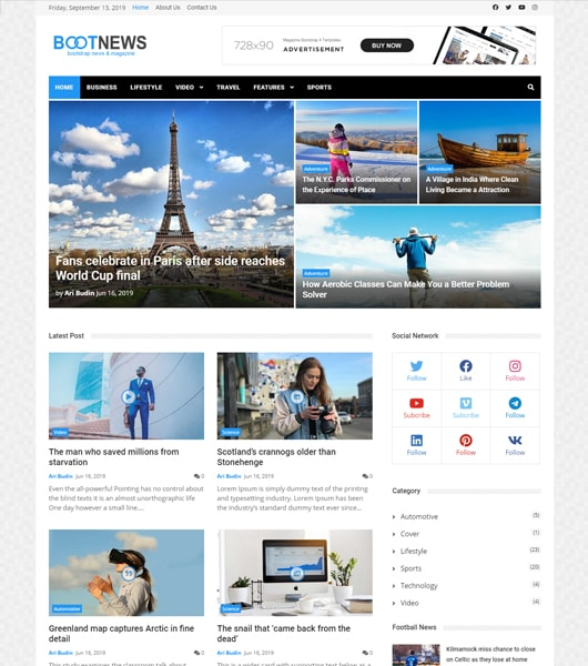 bootstrap 4 news template