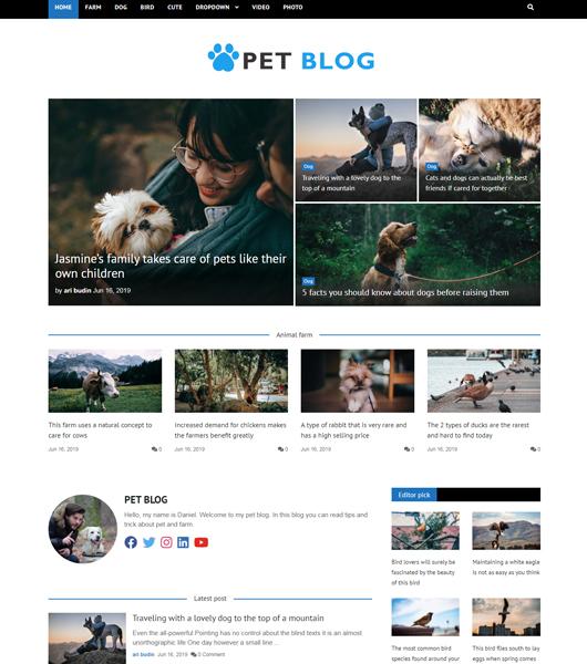 bootstrap pet blog