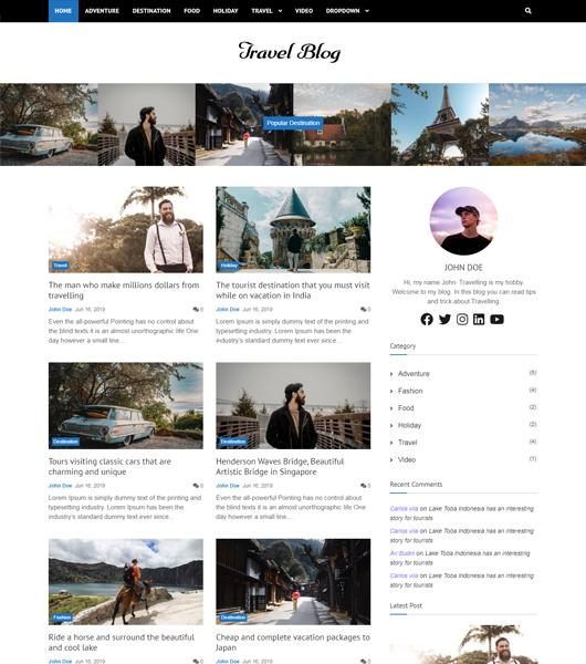 bootstrap travel blog